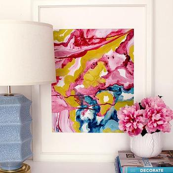 Love Spill, Pink and Blue Colorful Abstract Art I Cozamia