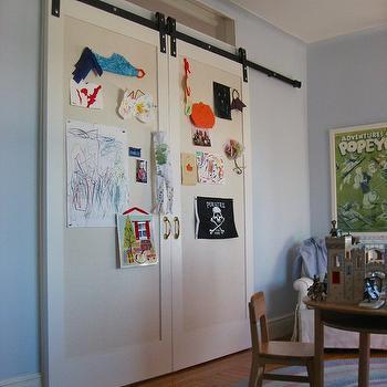 Playroom Barn Door, Traditional, boy's room, Nastasi Vail Design