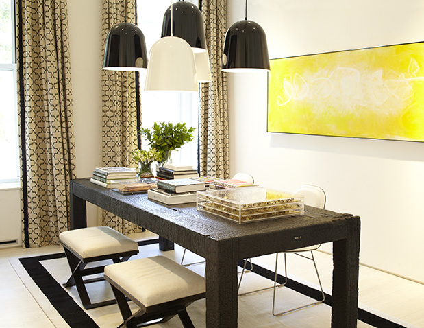 Black And Yellow Dining Room With Cluster Of Black And White Pendants Over  Rectangular Textured Black Dining Table Lined With X Ottomans White And  Black ... Part 62