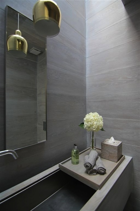 Powder Room Trough Sink Modern Bathroom Rajiv Saini