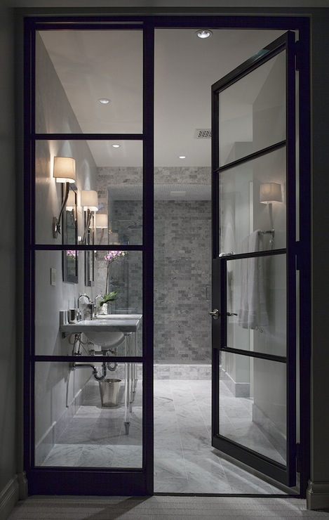 Glass and steel doors contemporary bathroom ryan for Glass door frame