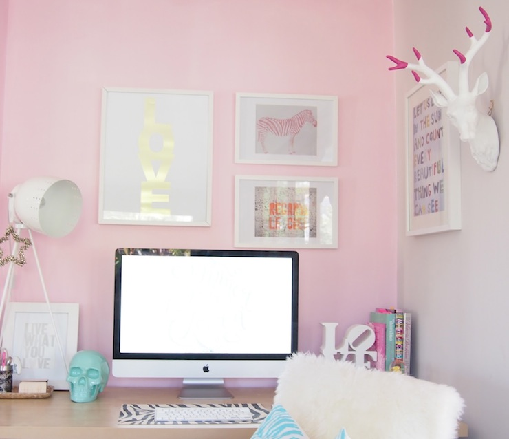 Pink Accent Wall office with painted accent wall - contemporary - den/library/office