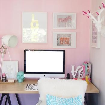 Pink Office, Contemporary, den/library/office, Habitat and Beyond