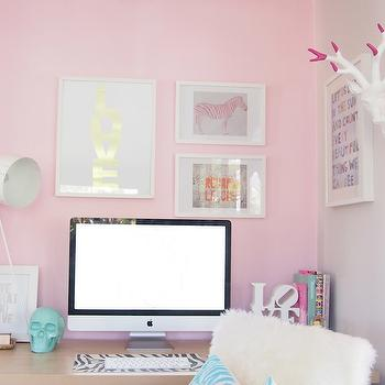 Pink Accent Wall, den/library/office, Habitat and Beyond