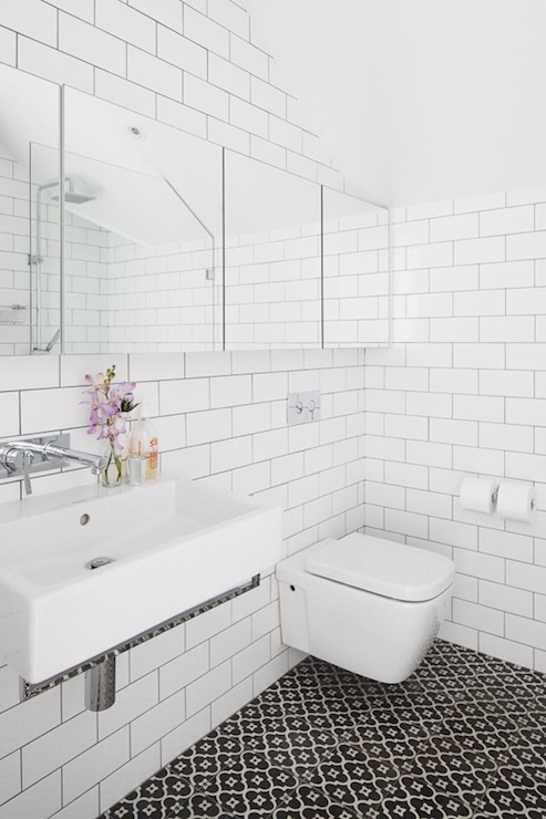 Floating toilet contemporary bathroom kathy collins - White subway tile with black grout bathroom ...
