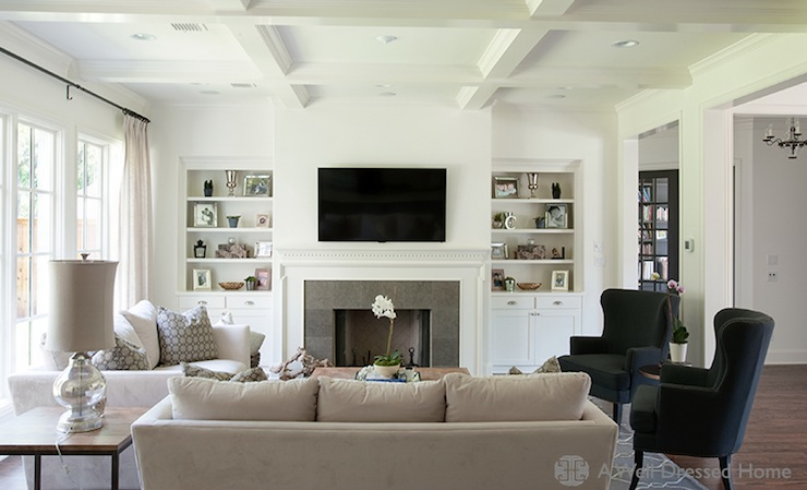 Bookshelves Fill Nooks On Either Side Of Fireplace Design Ideas