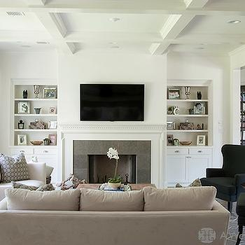 Fireplace Flanked by Built In Cabinets - Transitional - Living Room