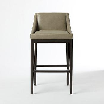 Curved Leather Bar + Counter Stool, Elephant, west elm