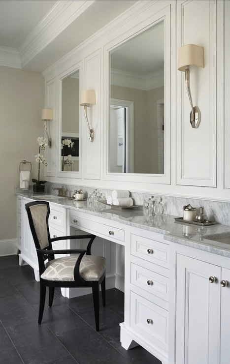 Built In Makeup Vanity Transitional Bathroom Linda Mcdougald Design