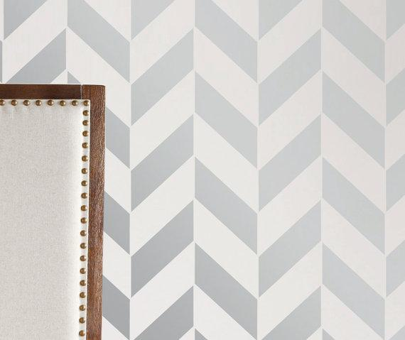 Wall stencil geometric arrow chevron zig zag by for Chevron template for walls