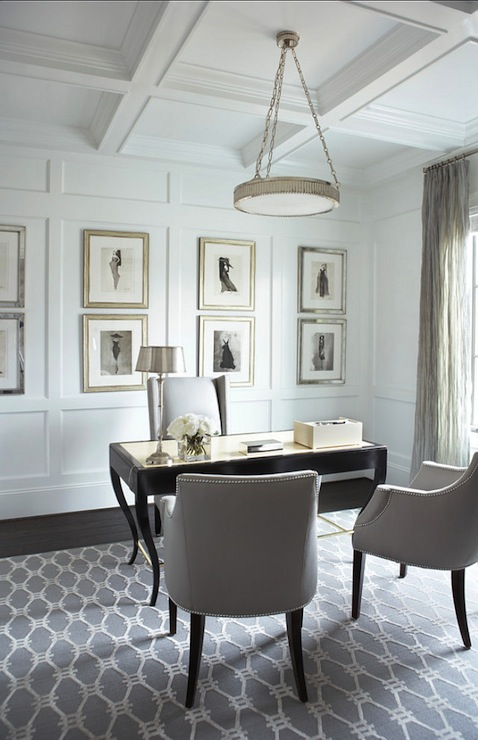 vallone design elegant office. Stunning Home Office With White Coffered Ceilings Featuring A Circular Nickel Pendant. Linda McDougald Design Vallone Elegant M
