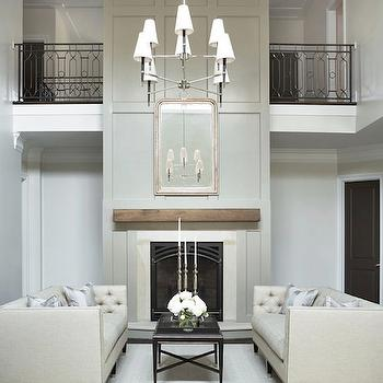 Jonathan Adler Ventana Two-Tier Chandelier, Transitional, living room, Benjamin Moore Intense White, Linda McDougald Design