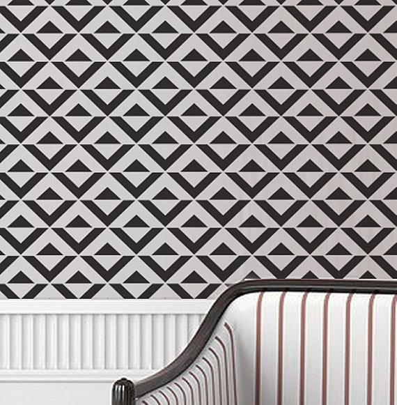 Chevron Wall Stencil Large Stencil to Paint by royaldesignstencils
