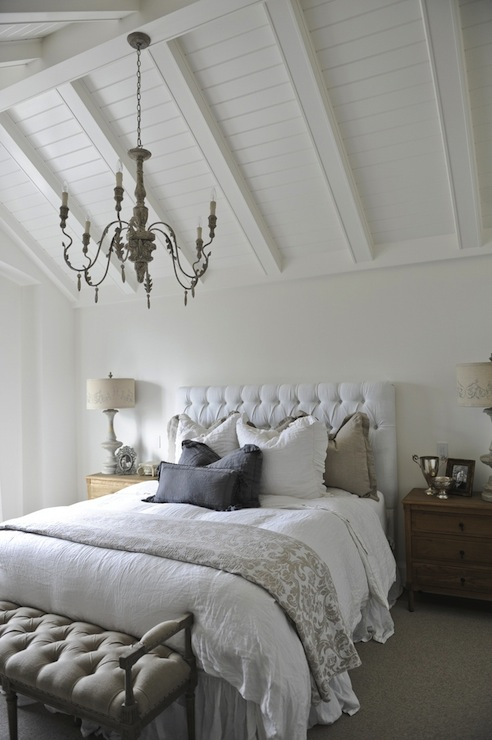 White Velvet Tufted Headboard Cottage Bedroom Tracey Ayton Photography