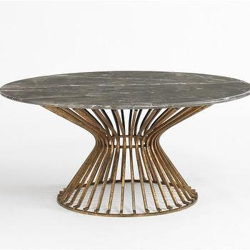 Baldwin Coffee Table, Brown Marble/Antique Gold, DwellStudio