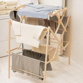 Large Wood Drying Rack In Laundry Crate And Barrel