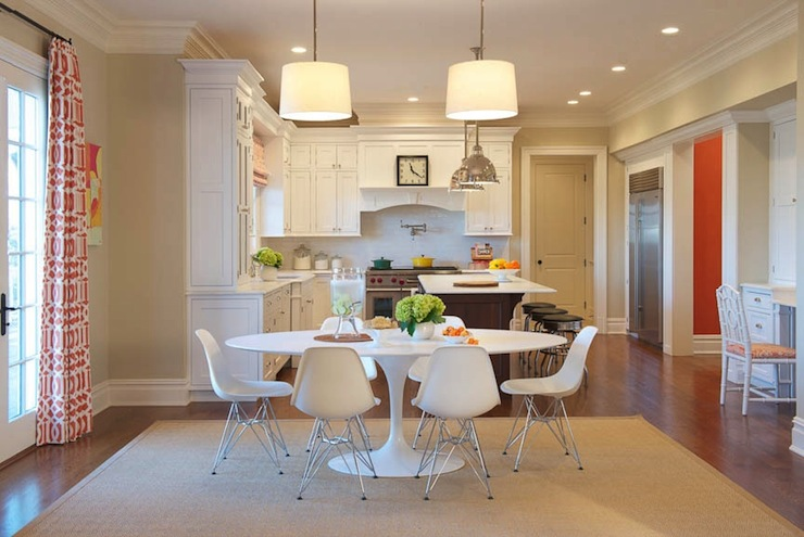 kitchen with oval dining table design ideas