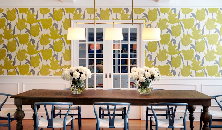 Lovely Dining Room With Yellow And Gray Floral Wallpaper Paired Wainscoting As Well Glass Paned Pocket Doors