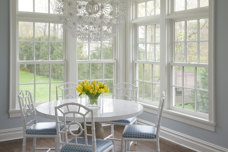 Corner Dining Space Features Ikea PS Maskros Pendant Lamp Over Round Table With White Lacquer Top Surrounded Bungalow 5 Chloe Chairs In