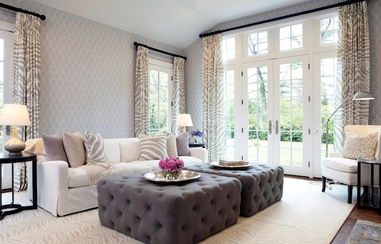 Chic Lilac And Grey Living Room With Schumacher Tracery Wallpaper In Wisteria Accented Braemore Zebra Print Fabric Curtains On Oil Rubbed Bronze