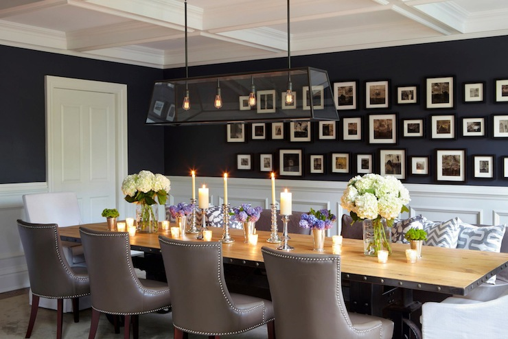 Navy blue paint colors transitional dining room - Black walls in dining room ...
