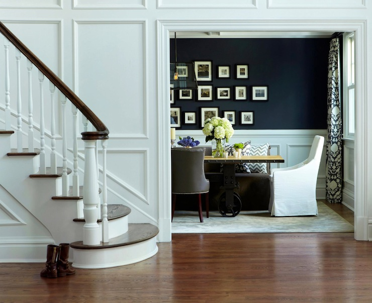 Dining room wainscoting transitional dining room for Navy dining room ideas