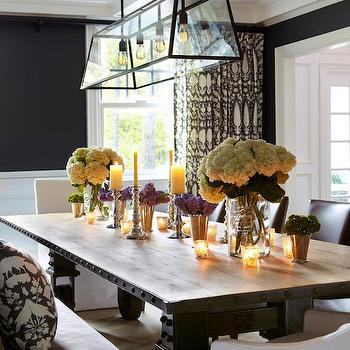 Industrial Dining Table, Transitional, dining room, Benjamin Moore French Beret, Chango & Co.