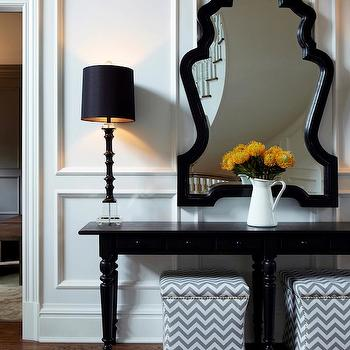 Skirted Ottomans Contemporary Entrance Foyer