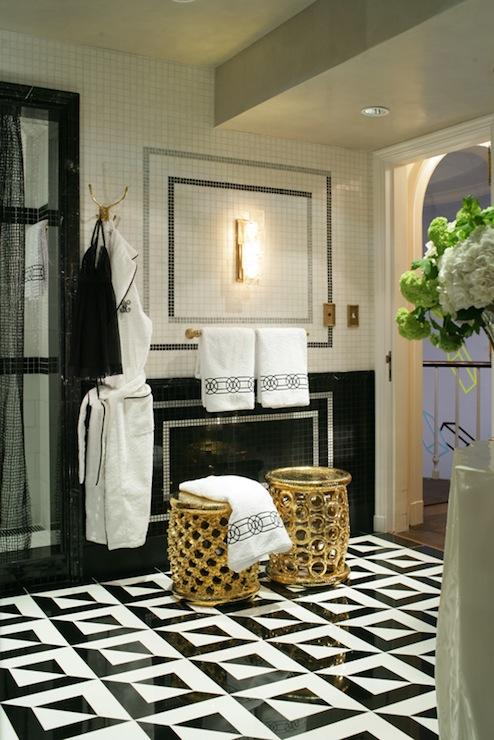Black and White Bathroom view full sizeBlack And White Bathroom Gold Accents Design Ideas. Black And White Marble Bathrooms. Home Design Ideas