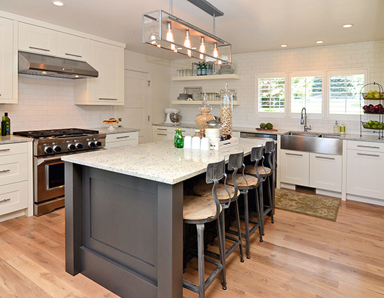 Charcoal Gray Subway Tile Contemporary Kitchen