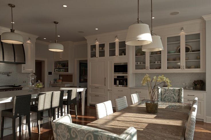 View Full Size. Beautiful Eat In Kitchen With Pleated Double Drum Pendant  ...