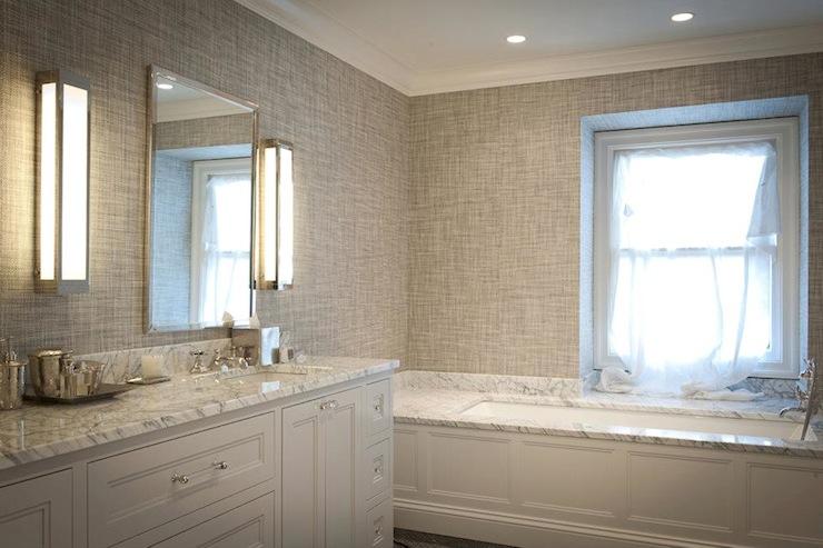 Gray Grasscloth Wallpaper Contemporary Bathroom Jcs