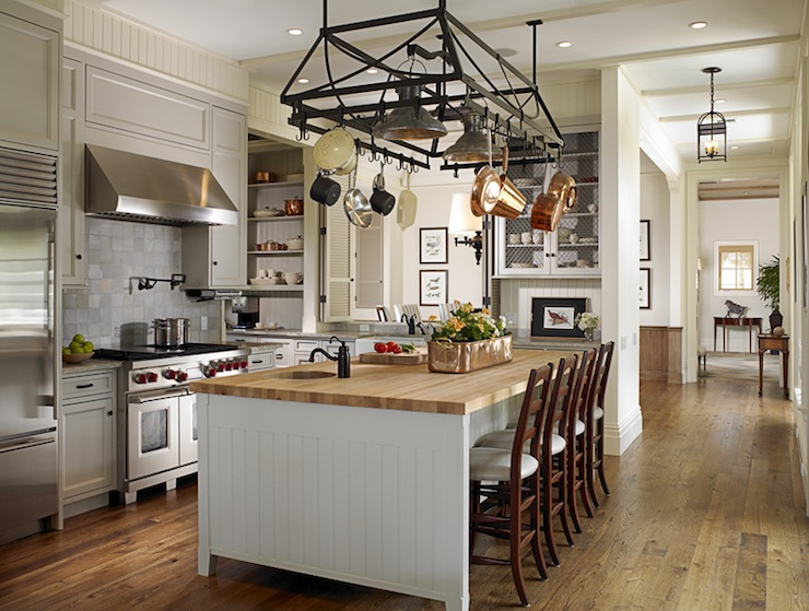 Beadboard Center Island Transitional Kitchen Huryn