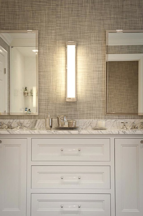 Gray grasscloth wallpaper transitional bathroom jcs for Gray bathroom wallpaper