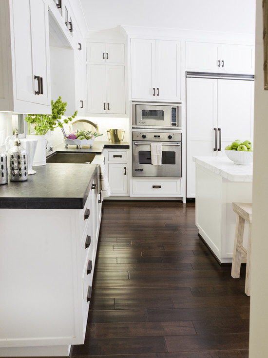 Two tone countertops transitional kitchen bliss for Black kitchen cabinets with dark floors