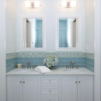 Blue Mosaic Tiles Contemporary Bathroom Jennifer