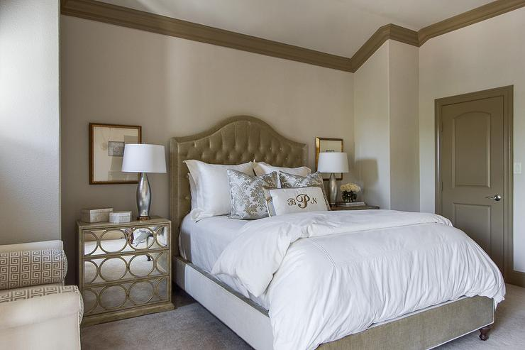 Taupe Headboard - Transitional - bedroom - EJ Interiors