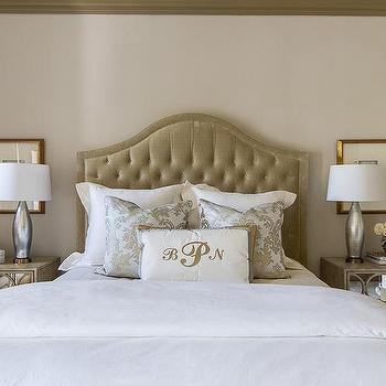 Taupe Velvet Headboard, Transitional, bedroom, EJ Interiors