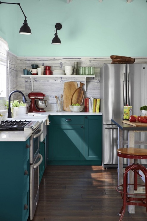 Peacock Blue Kitchen Cabinets