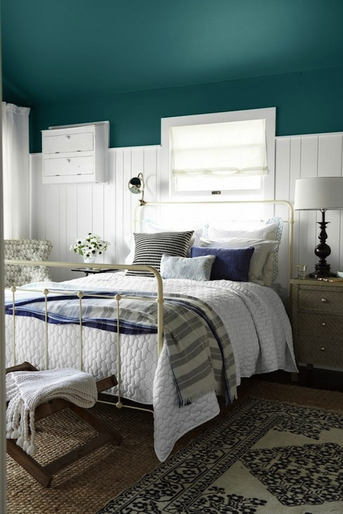 Framing Charles P Rogers Bed Accented With John Robshaw Textiles Coverlet Flanked By Mismatched Nightstands World Market Kiran Embossed Metal