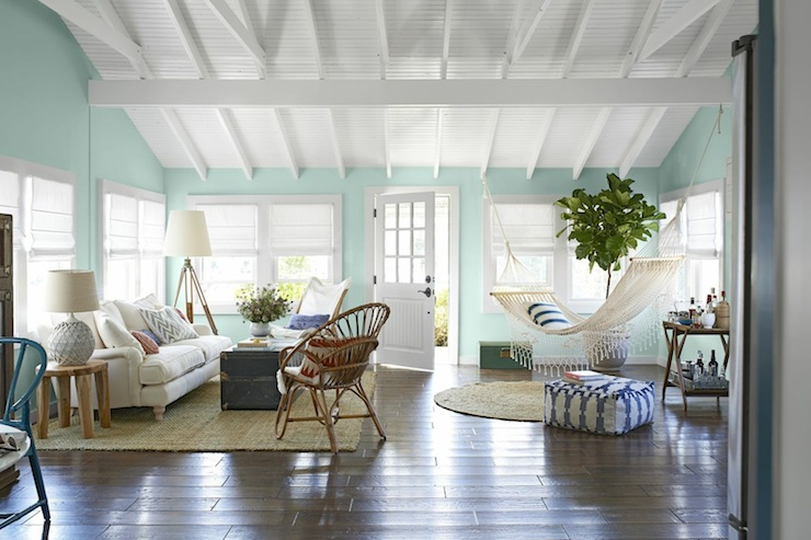 Turquoise paint colors country living room benjamin for Country home interior paint colors