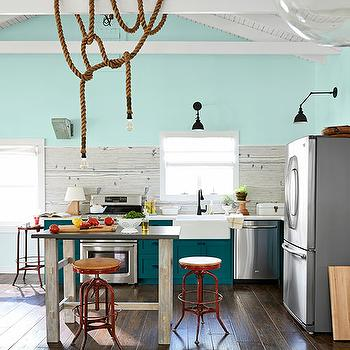 Peacock Blue Cabinets, Country, kitchen, Benjamin Moore Spring Mint, Country Living