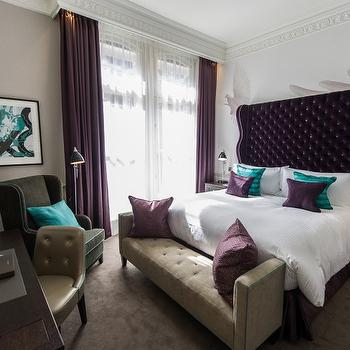 Purple Wingback Headboard, Contemporary, bedroom, The Ampersand Hotel