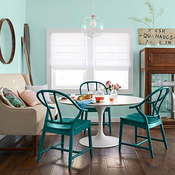 Turquoise Dining Chairs, Country, kitchen, Benjamin Moore Spring Mint, Country Living
