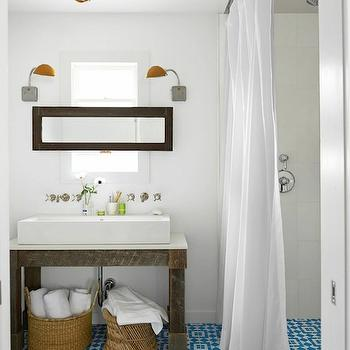 Turquoise Mosaic Tiles, Transitional, bathroom, Behr Decorators White, Country Living