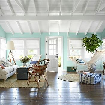 Turquoise Paint Colors, Country, living room, Benjamin Moore Spring Mint, Country Living