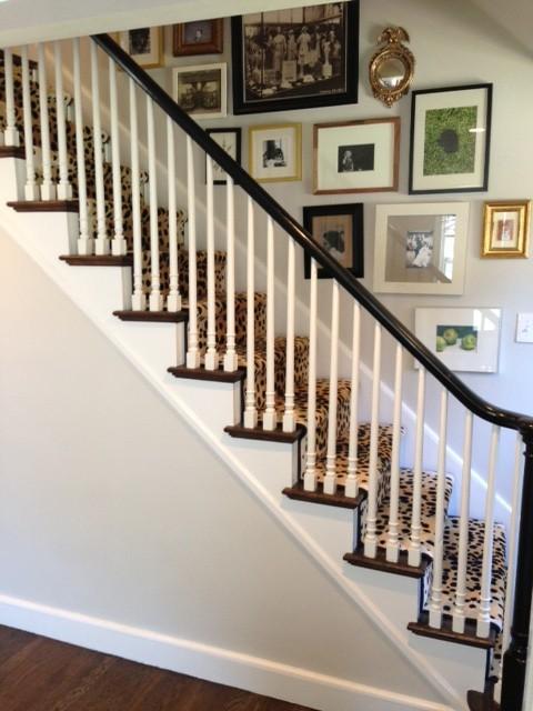 Foyer Staircase Runners : Cheetah stair runner transitional entrance foyer