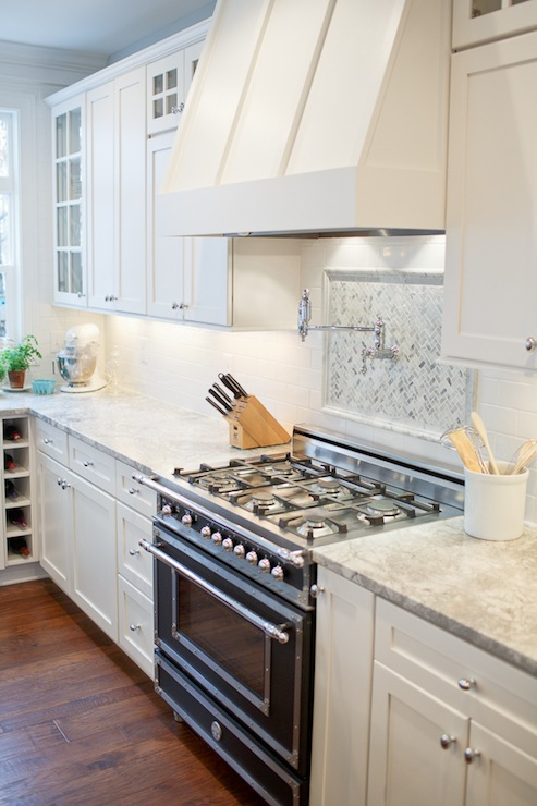 Vermont white granite transitional kitchen britt for Shaker style kitchen hoods