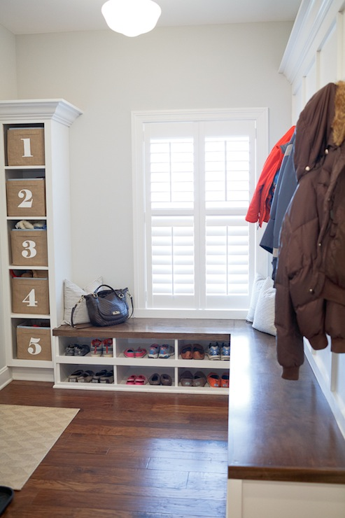 Mudroom Bench Transitional Laundry Room Benjamin Moore Wickham Gray Britt Lakin Photography