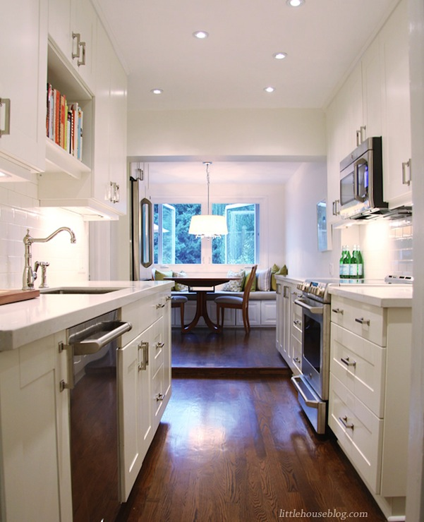Galley Kitchen Remodel Photos: Benjamin Moore Cloud White